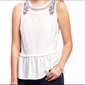 EMBROIDERED PEPLUM-HEM TOP FOR WOMEN